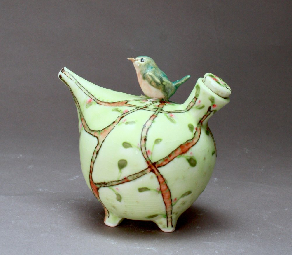 OC-29 | Pale Green Spring Oil Cruet with Robin ($160)
