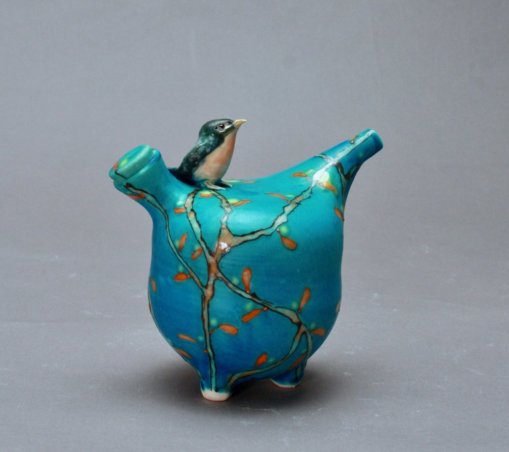 OC-30 | Turquoise Autumn  Oil Cruet with Bluebird ($160)