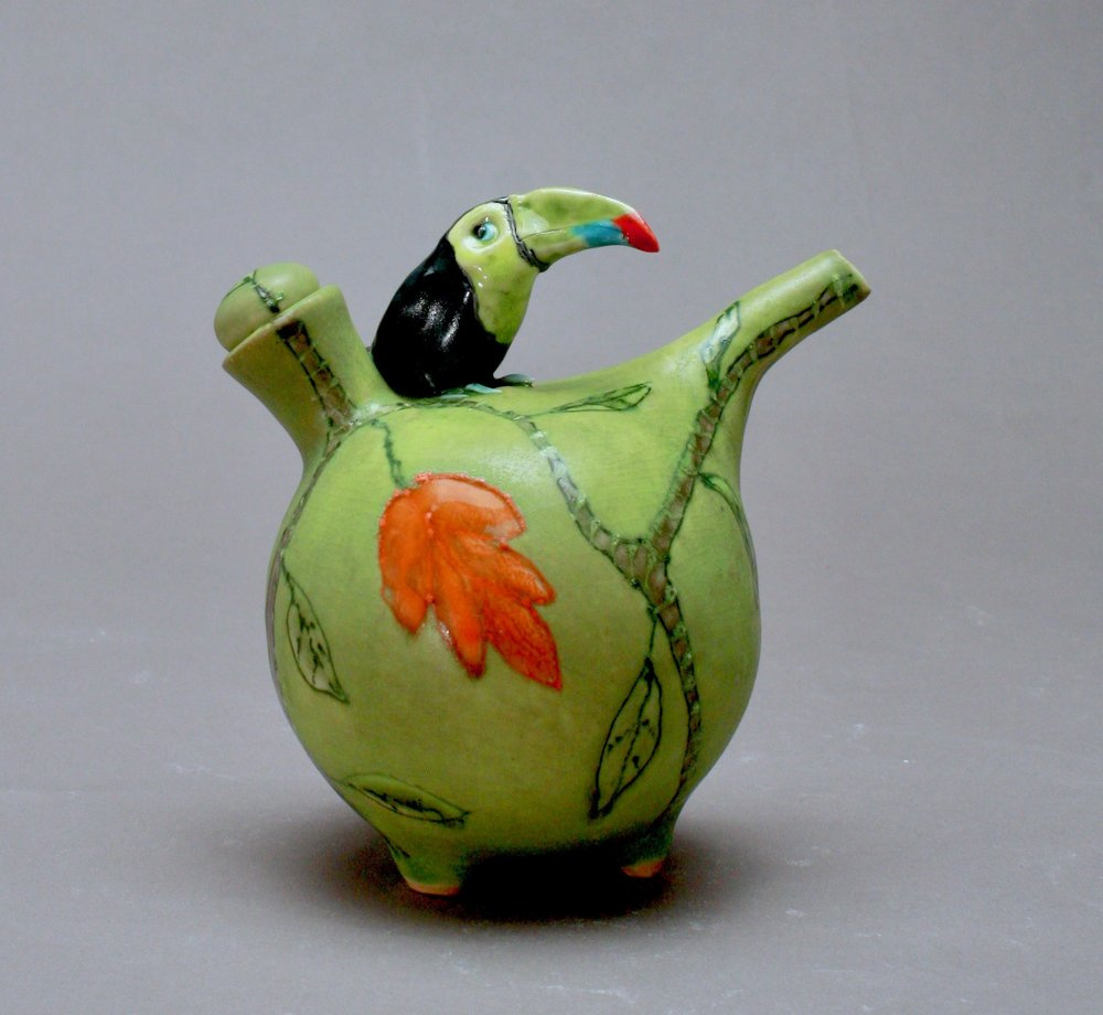 OC-31 | Chartreuse Oil Cruet with Toucan ($160)