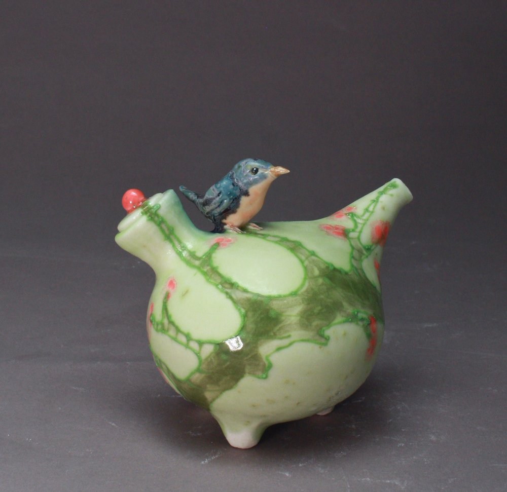 OC-32 | Pale Green Oil Cruet with Branch and Bluebird ($160)