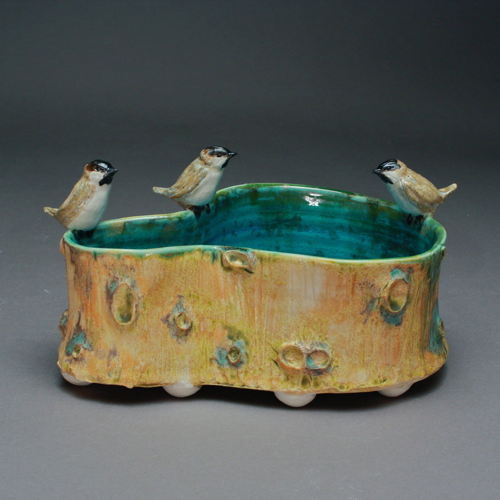 P-01 | Large Woodland Pool with 3 Chickadees ($375)