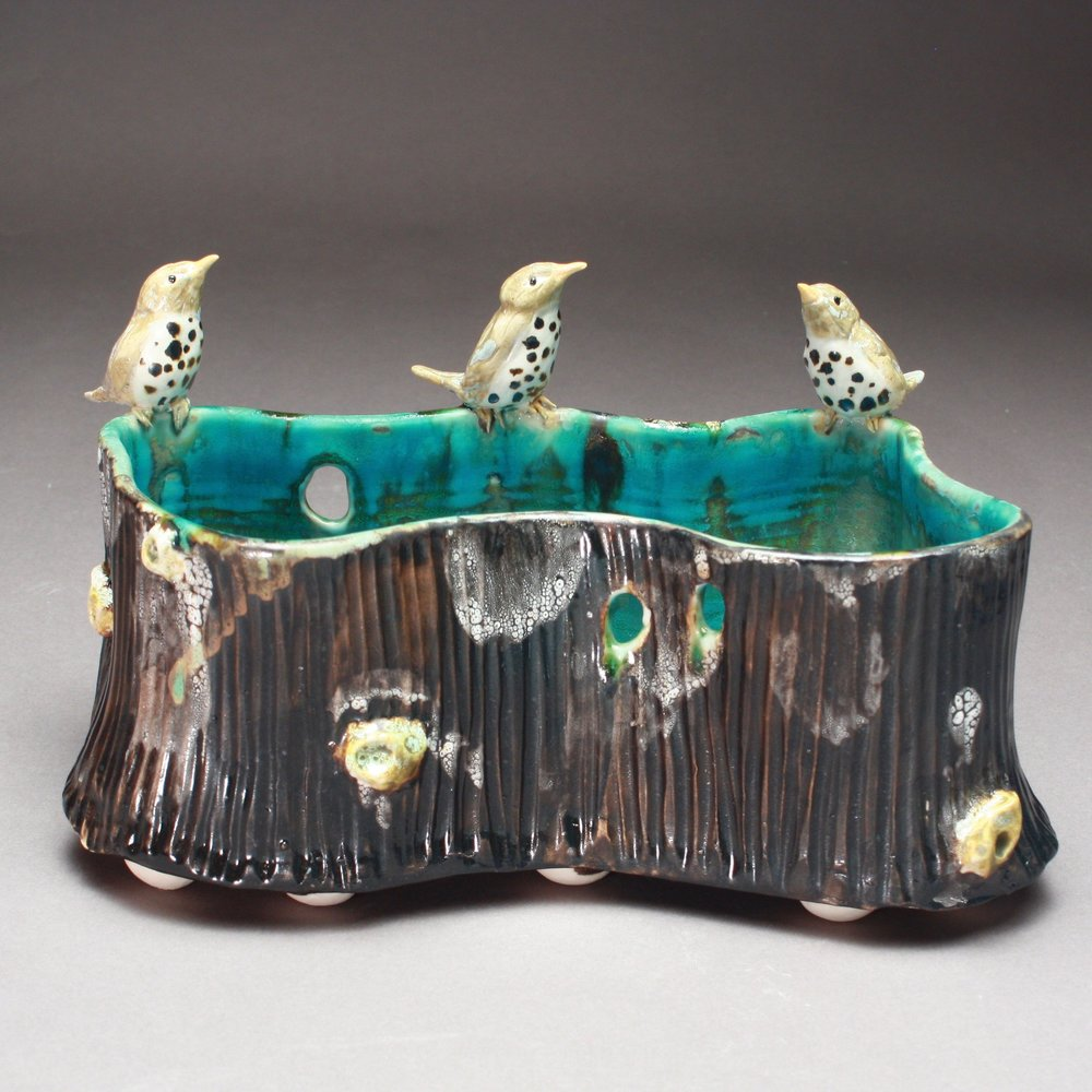P-02 | Large Woodland Pool with 3 Thrushes ($375)