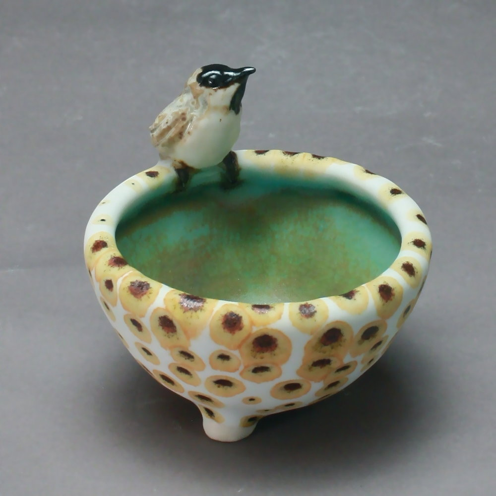 SC-01 | Bronze Spotted Salt Cellar with Chickadee ($95)
