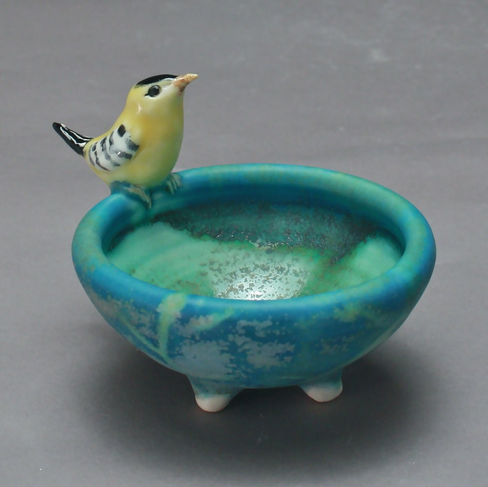 SC-02 | Turquoise Salt Cellar with Finch ($95)