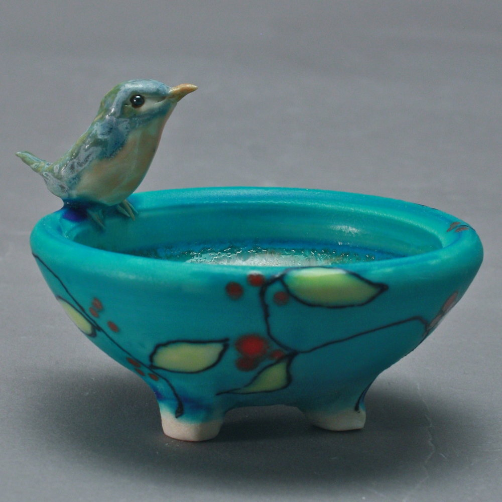 SC-04 | Turquoise Salt Cellar with Vines and Bluebird ($95)