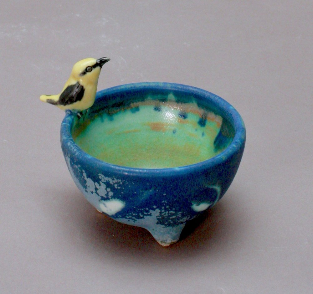SC-06 | Dark Blue Patterned Salt Cellar with Finch ($95)
