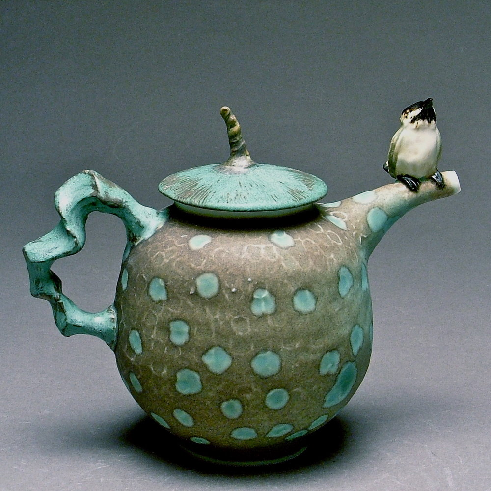 T-01  | Spotted Teapot with Chickadee ($295)