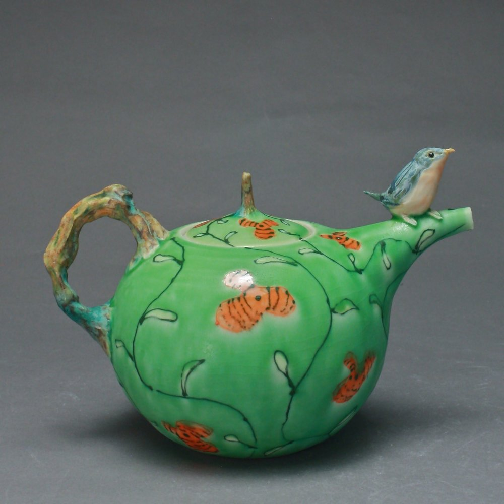 T-07  | Green Flowered Teapot with Bluebird ($295)