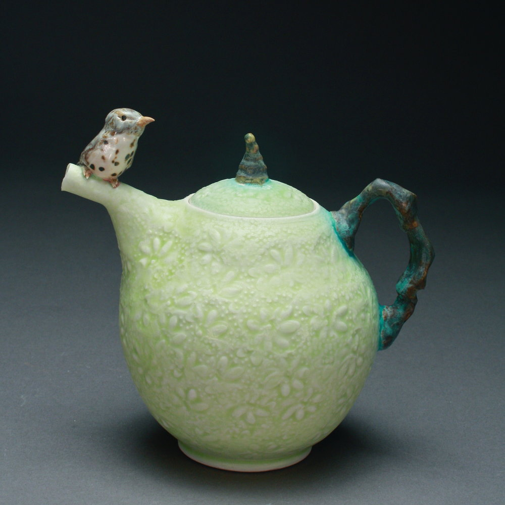 T-05  | Pale Green Teapot with Thrush ($295)