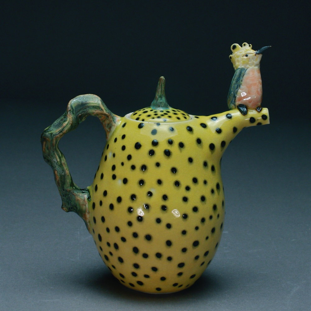 T-08  | Yellow Dotted Teapot with Tropical Bird ($295)