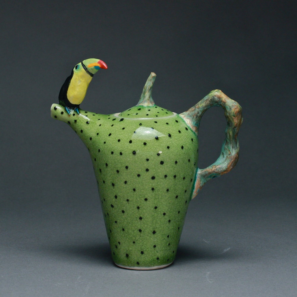 T-09 $295 | Green Dotted Teapot with Toucan ($295)