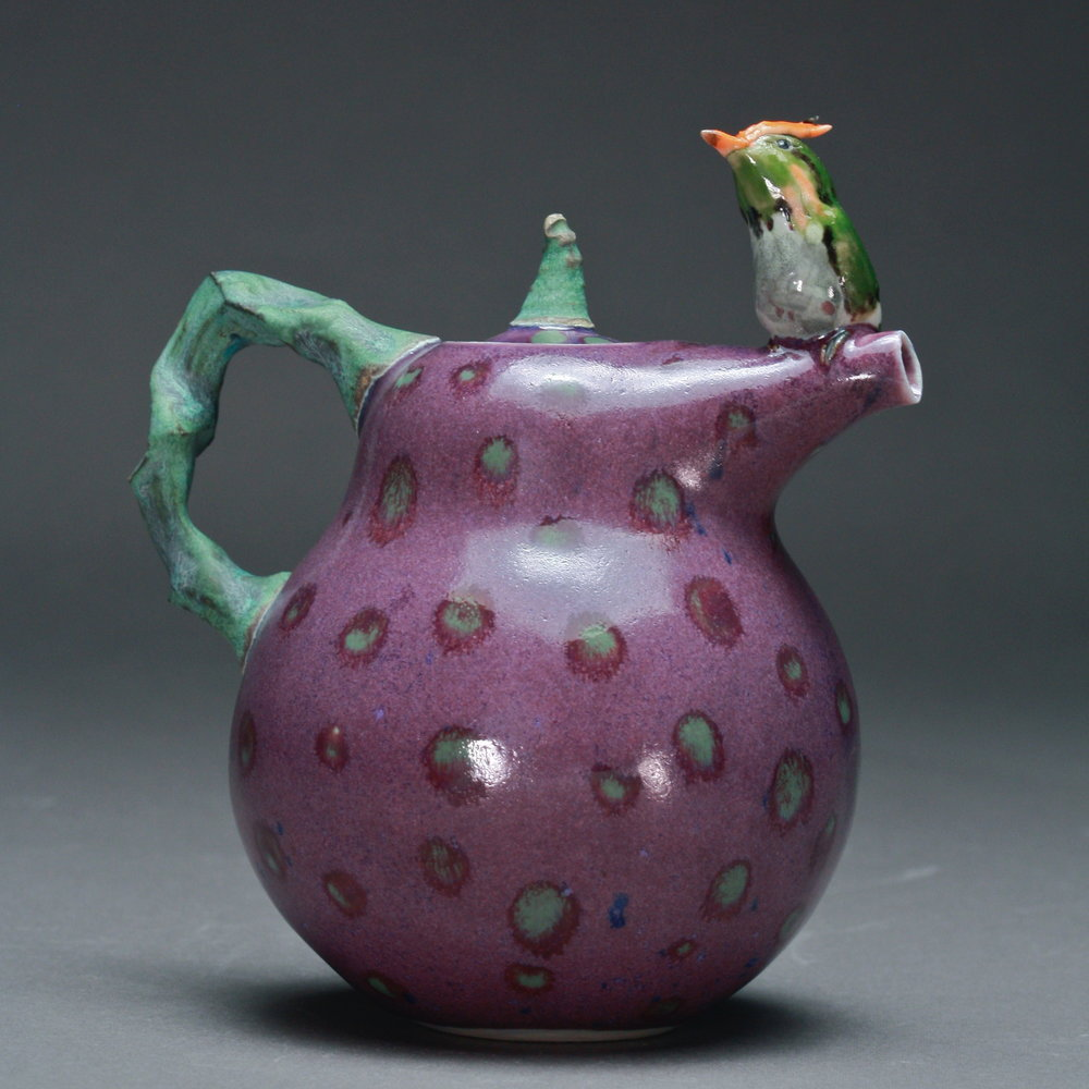 T-10  | Purple Spotted Teapot with Rufous Hummingbird ($295)