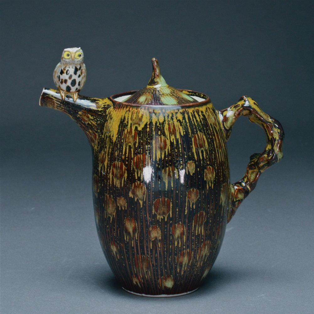 T-11  | Dotted Golden Tenmoku Teapot with Owl ($295)