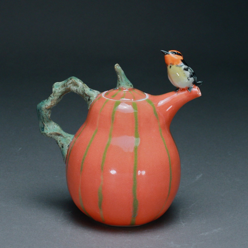 T-13  | Green Striped Mango Teapot with Oriole ($295)