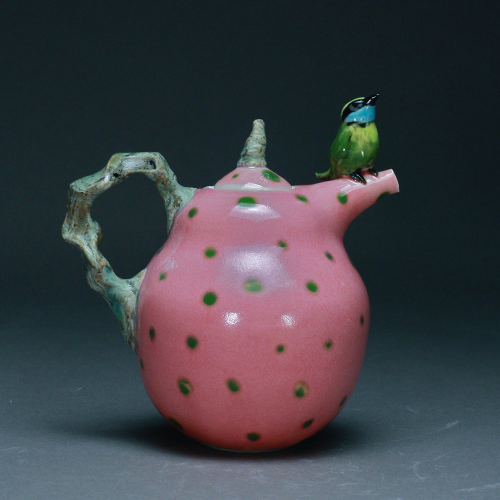 T-14 $295 |  Green Spotted Pink Teapot with Green Manakin ($295)