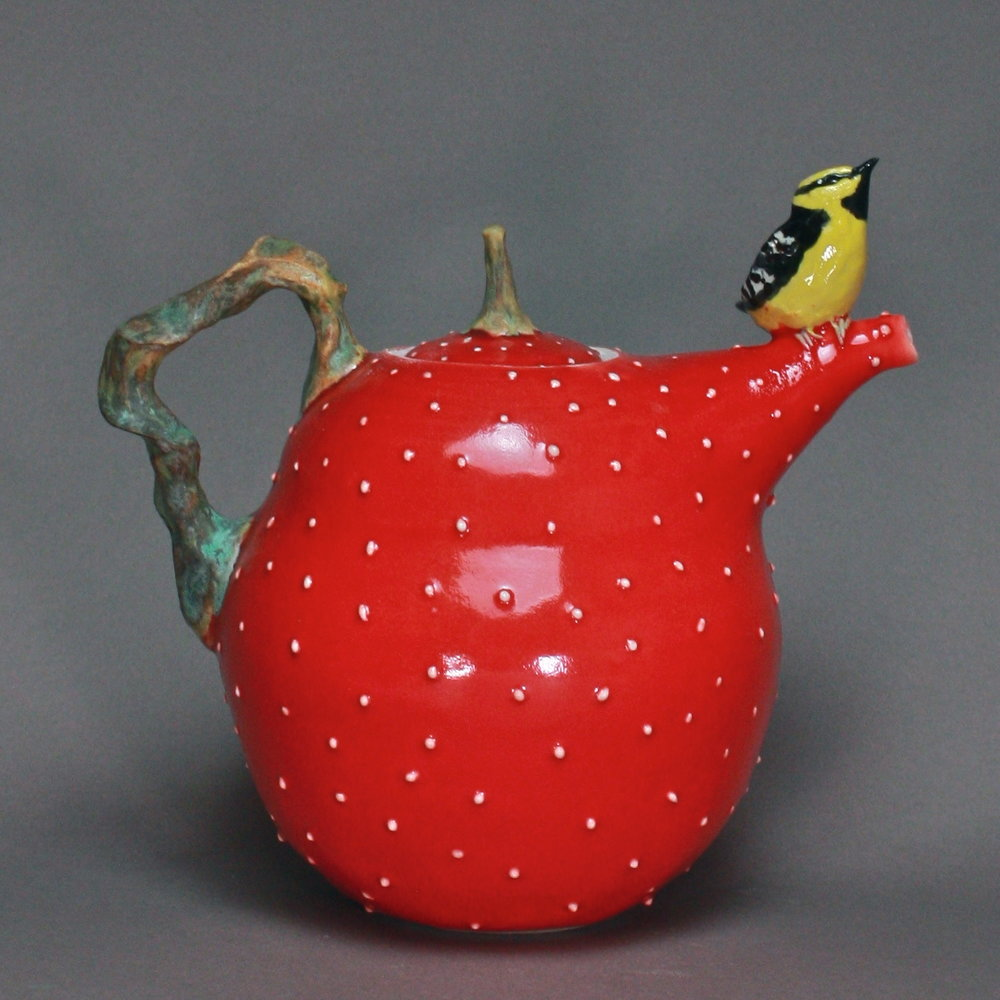 T-16  | Red Dotted Teapot with Yellow Oriole ($295)