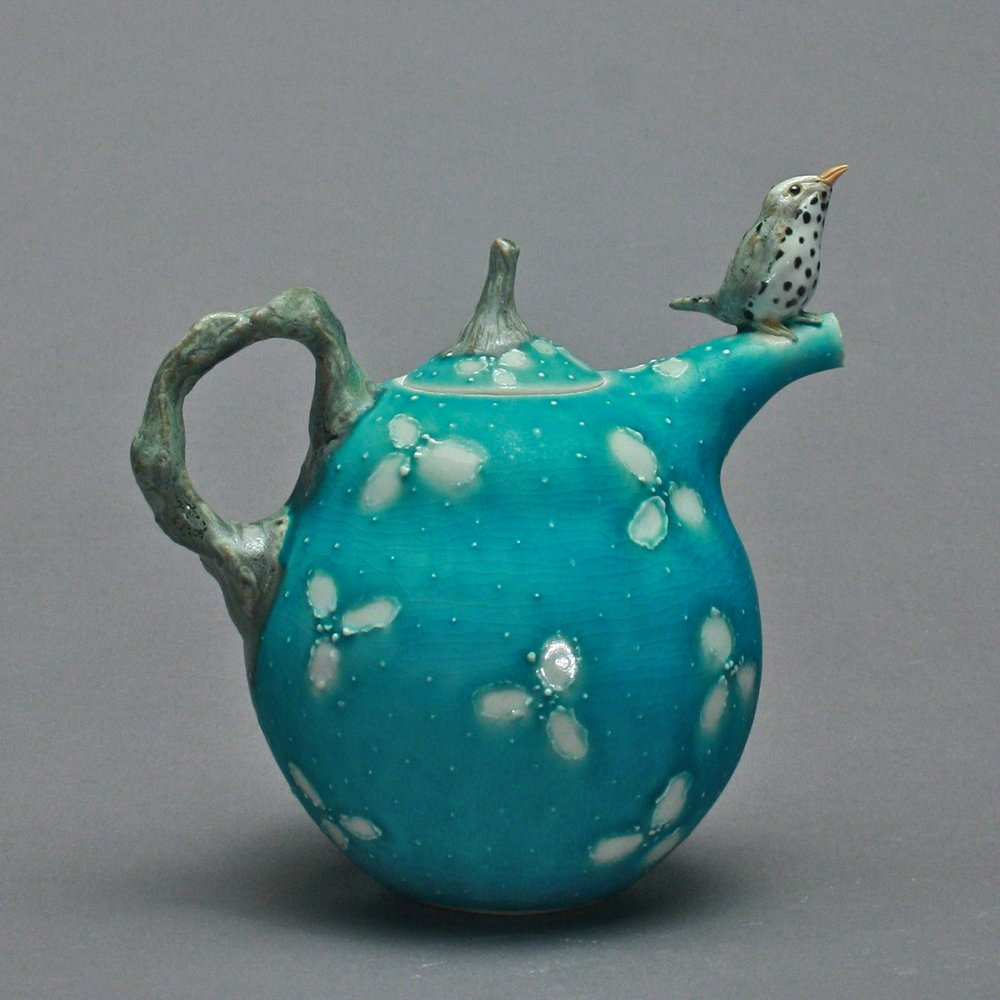 T-17  | Turquoise Flowered Teapot with Waterthrush ($295)