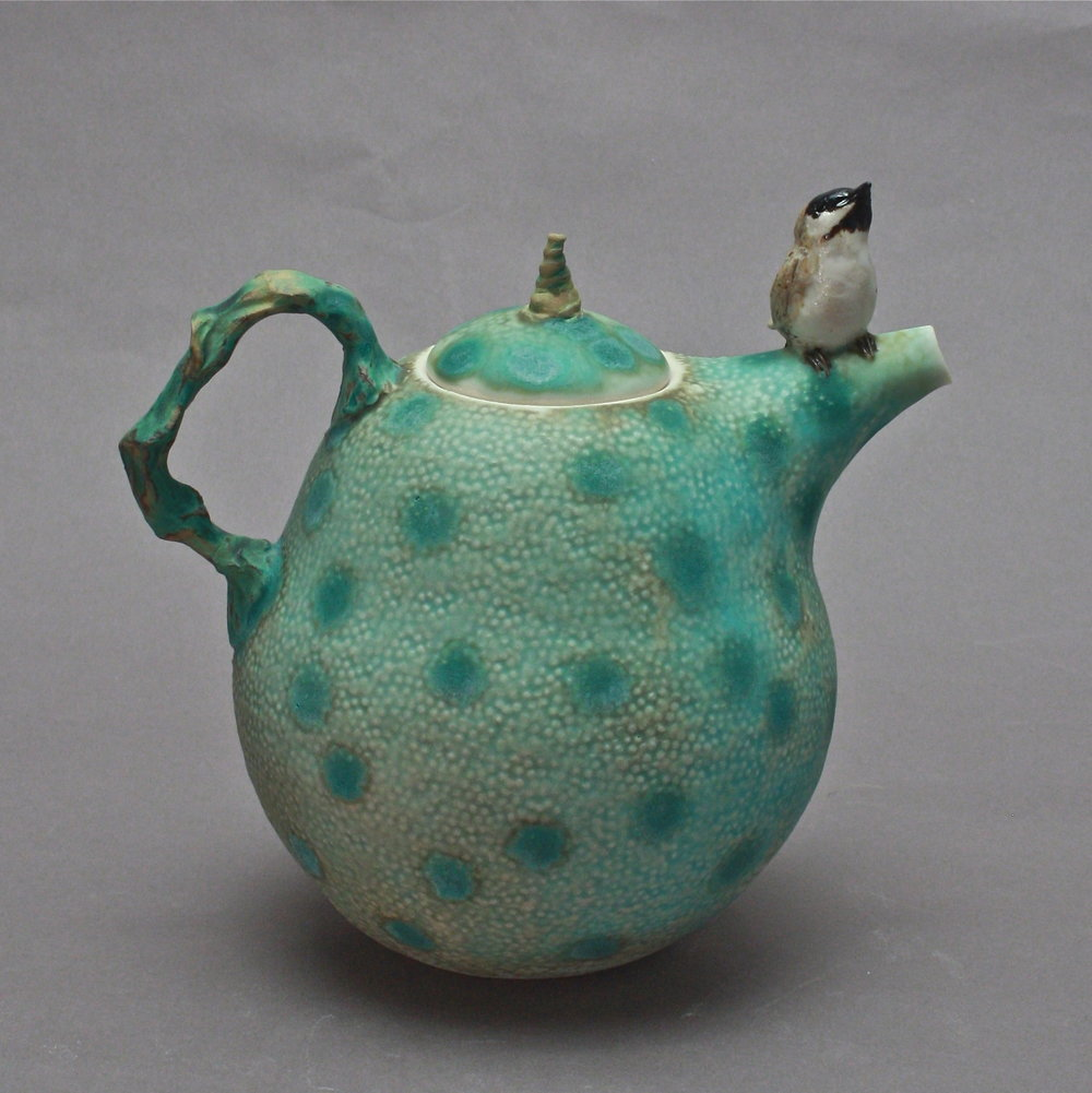 T-18  | Matte Blue Celadon Spotted Teapot with Chickadee ($295)