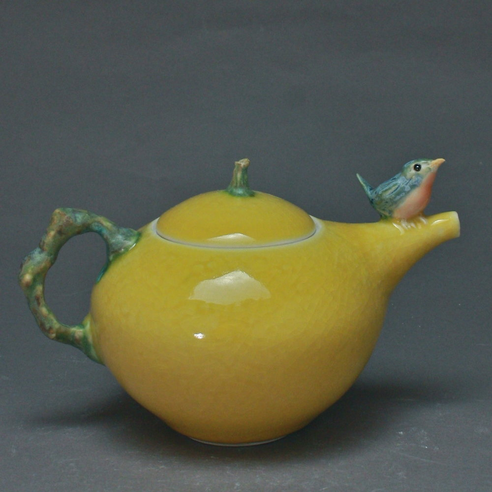 T-20  | Crackled Yellow Teapot with Bluebird ($295)