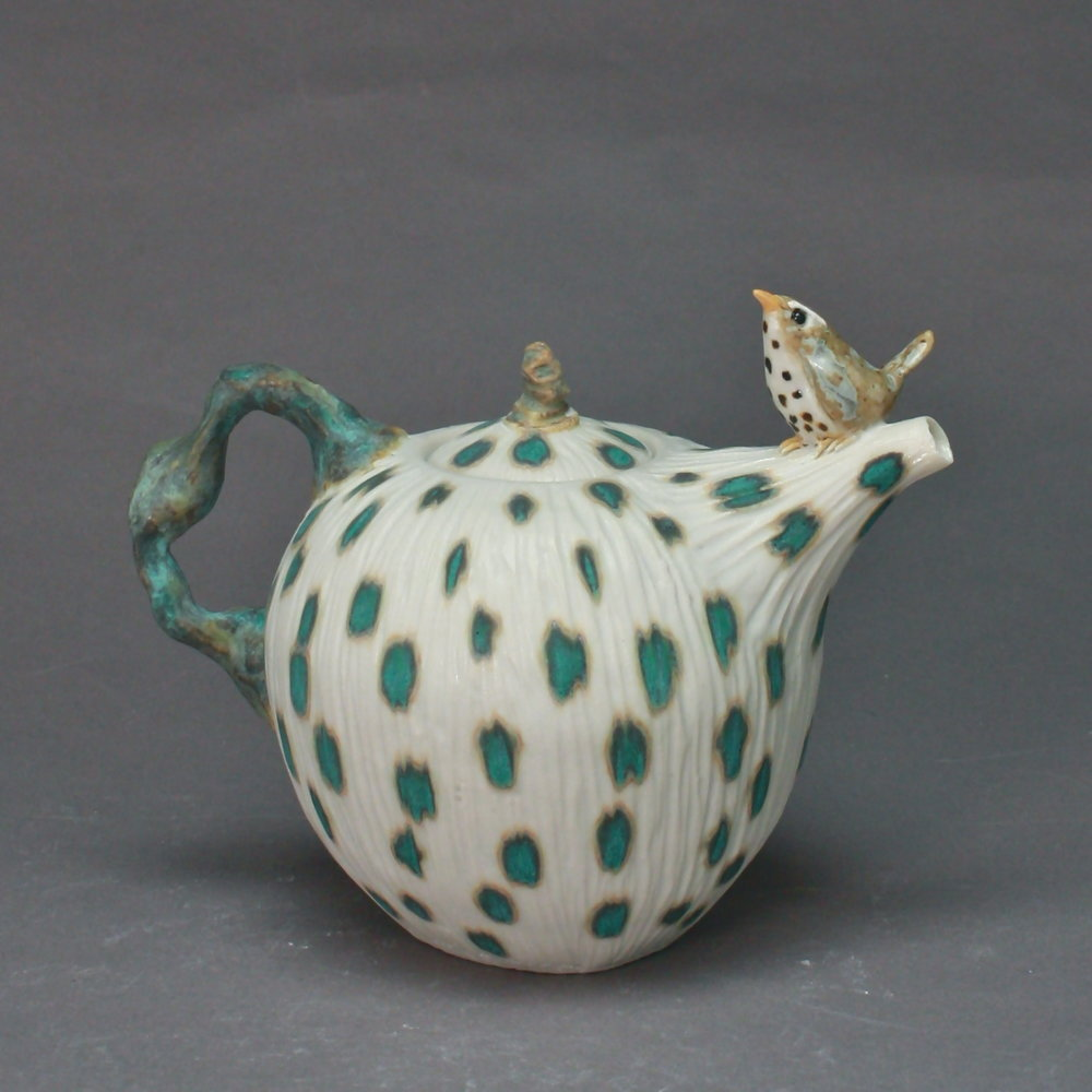T-21  | Matte White Spotted Teapot with Waterthrush ($295)