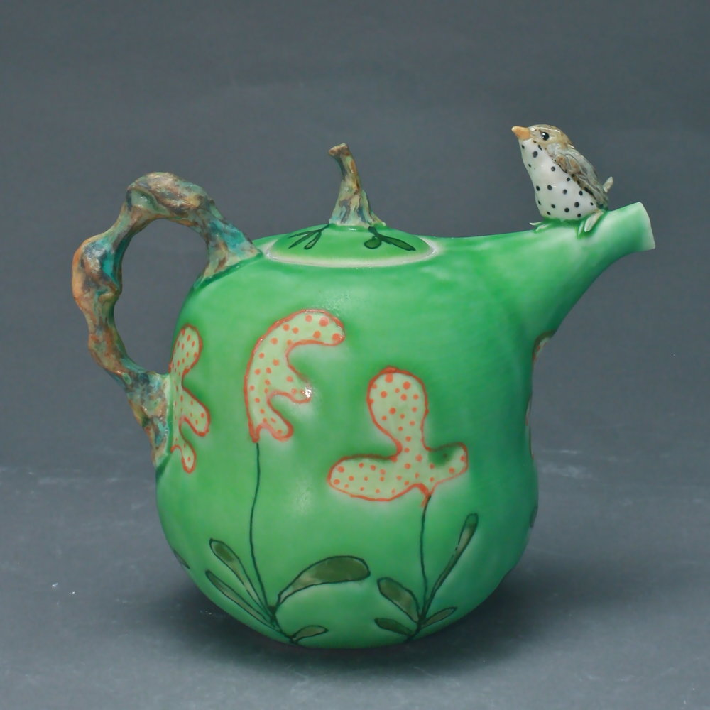 T-27  | Green Flowered Teapot with Waterthrush ($295)