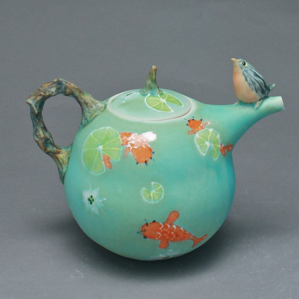 T-24  | Koi Pond Teapot with Bluebird ($295)