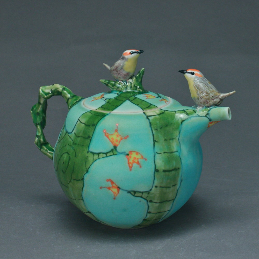 2BT-03  | Autumn Trees Blue Teapot with Red Crowned Warblers ($325)