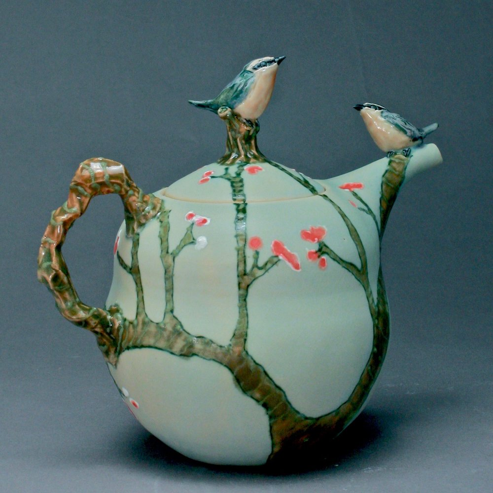 2BT-02  | Green Branch Matte Celadon Teapot with Bluebirds ($325)