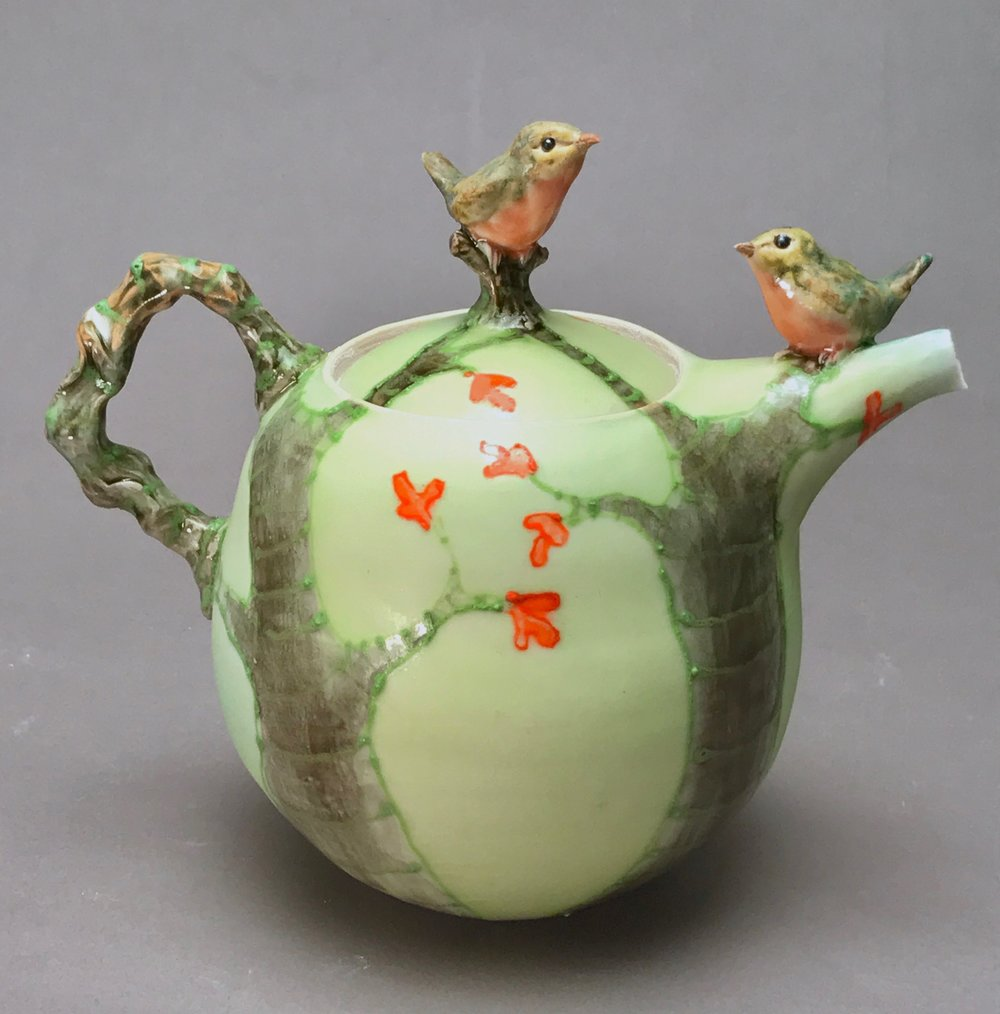 2BT-05  |  Autumn Trees Pale Green Teapot with Robins ($325)