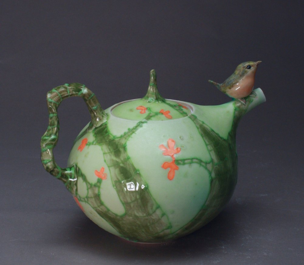 T-31  | Autumn Trees Green Teapot with Robin ($295)