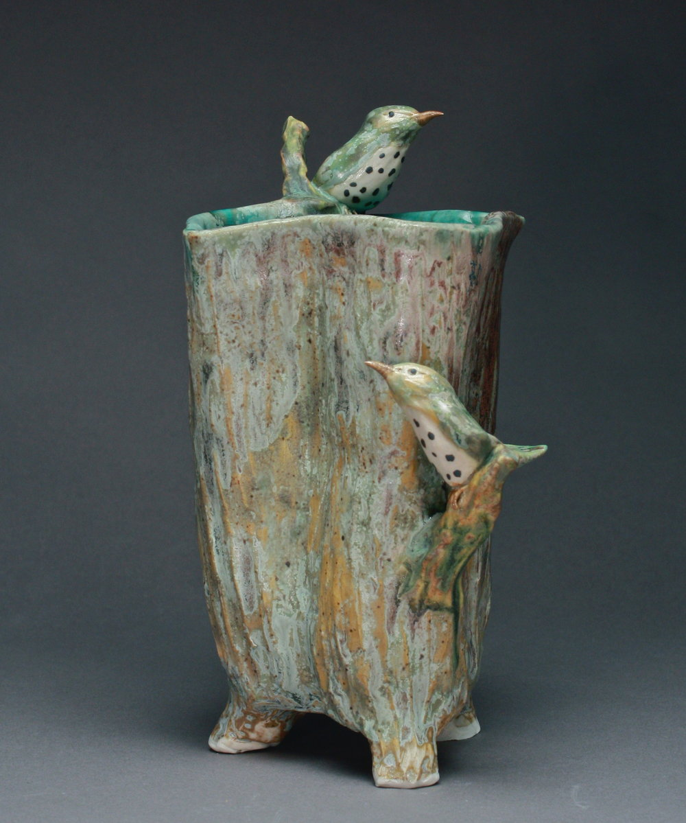 V-43 |  Tree Trunk Flower Vase with Thrushes ($275)