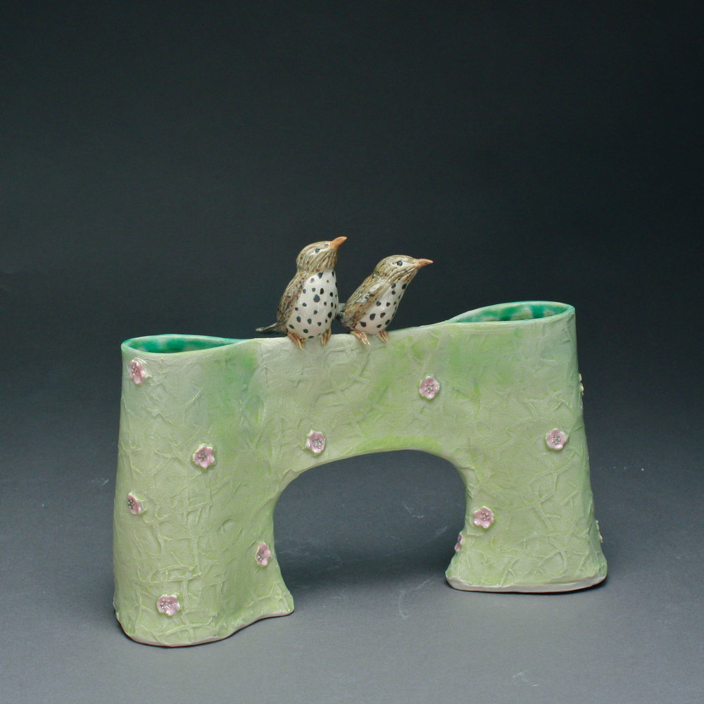 V-18 |  Pink Flowered Pale Green  Bridge Vase with Thrushes ($225)