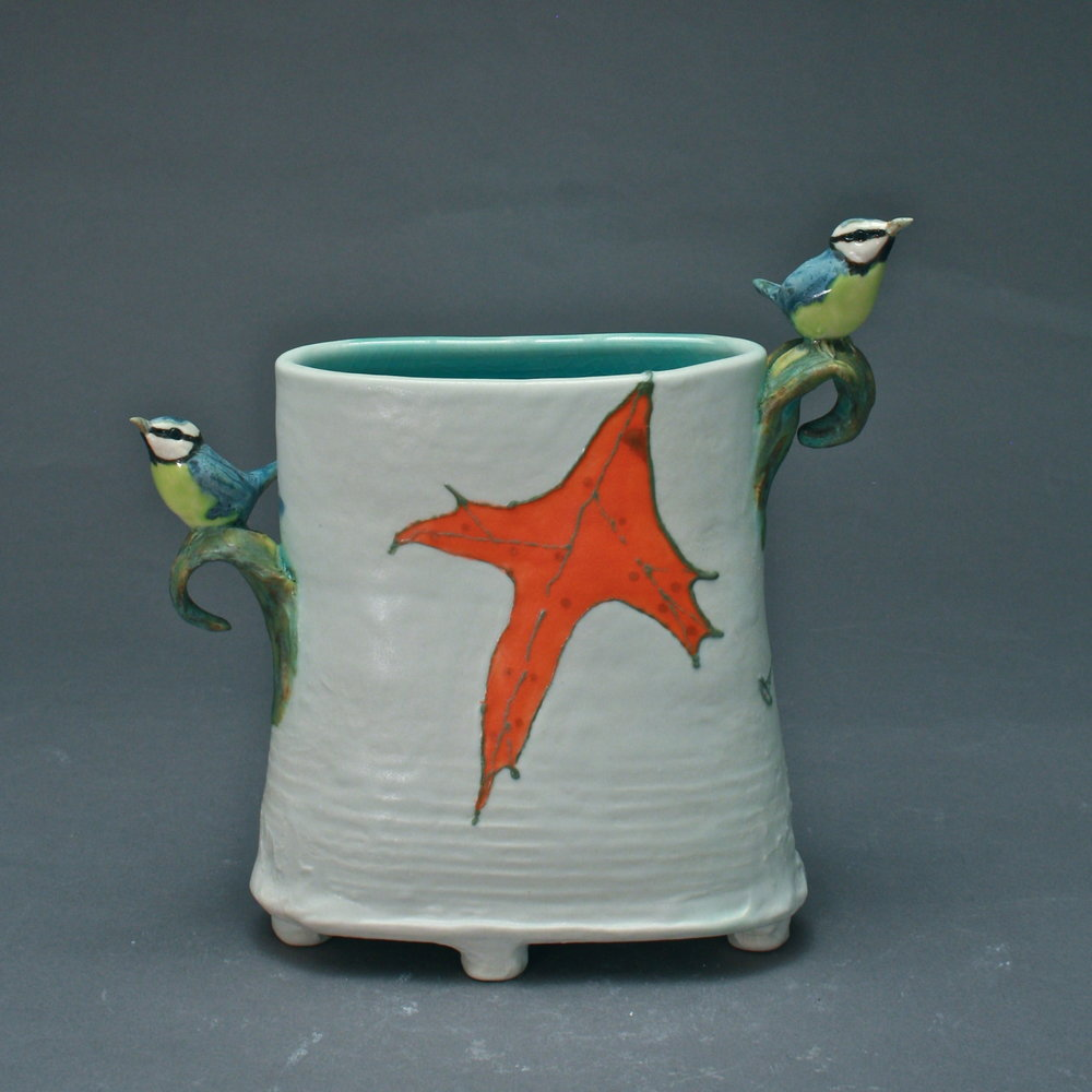 V-33 |  Orange Leaf White Envelope Vase with Blue Titmice ($250)