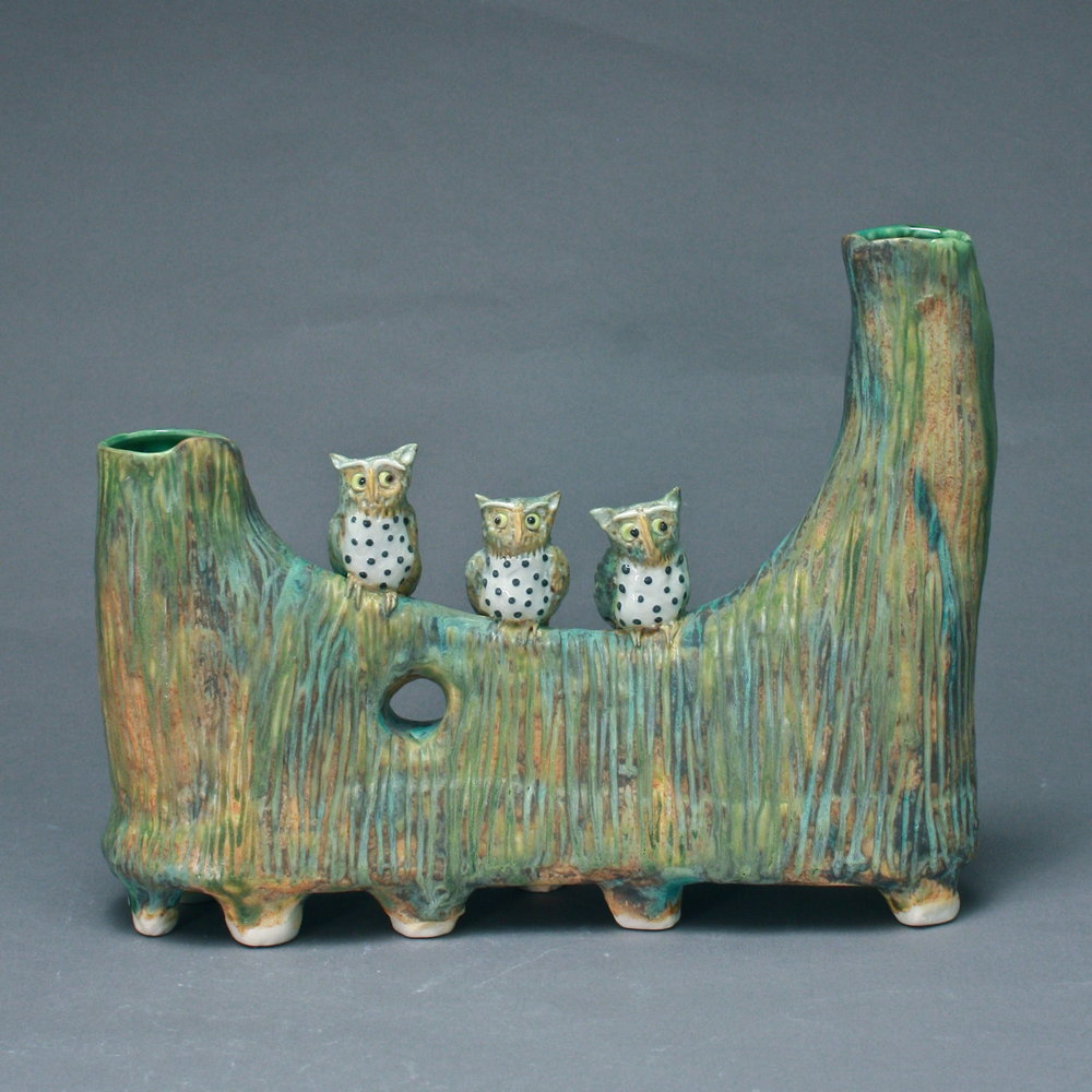 V-45 |   Footed Tree Vase with Owls ($325)