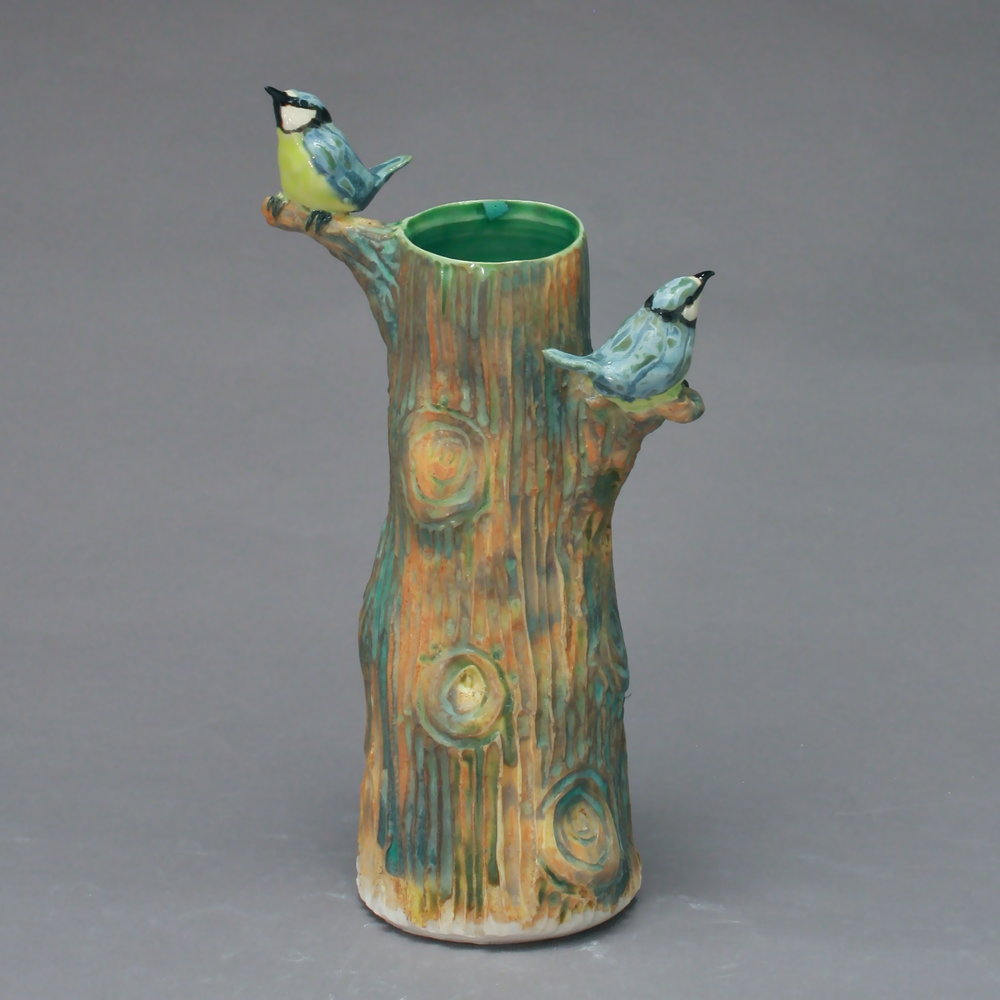V-11 |  Tree Vase with Blue Titmice ($175)