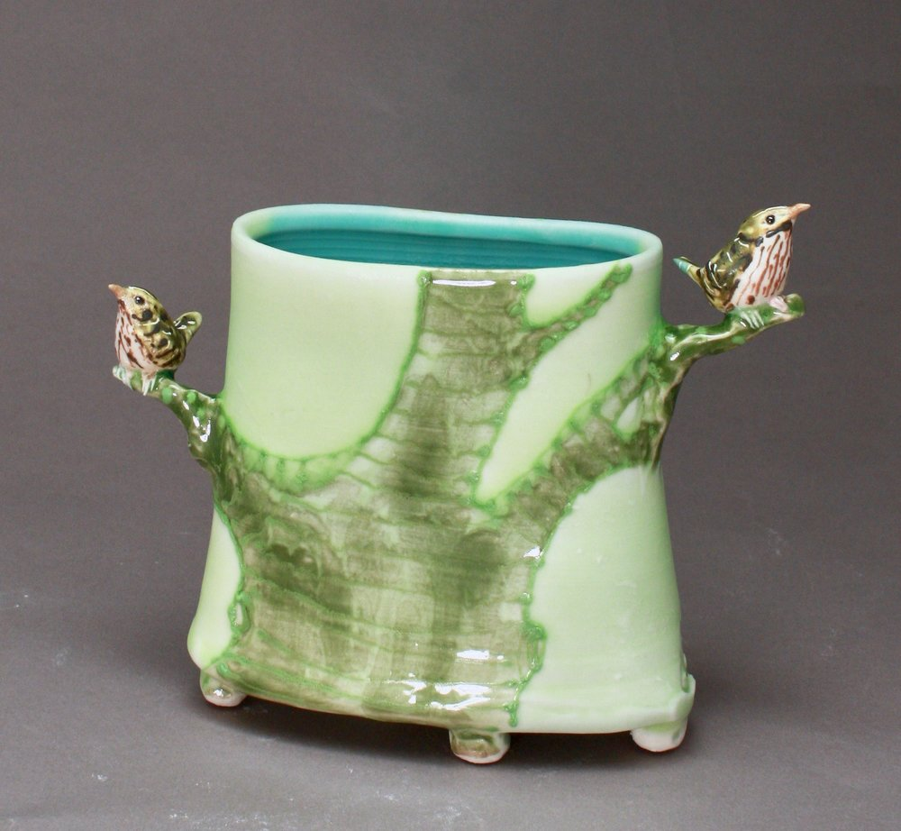 V-29 |  Pale Green Tree Envelope Vase with Wrens ($250)