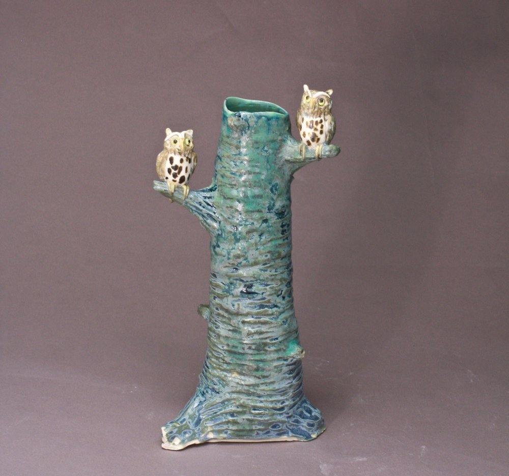 V-05 |  Tall Tree Vase with Owls ($185)