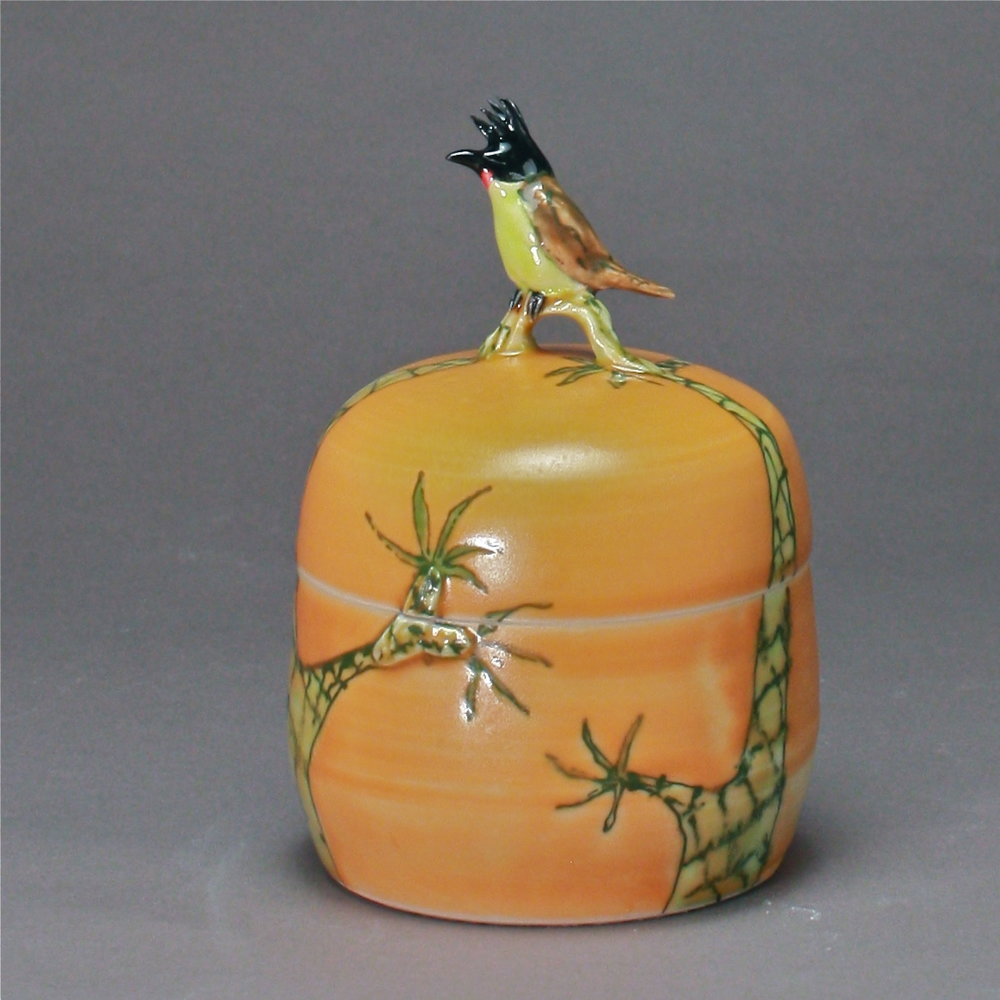 B- 10 |   Palm Trees Orange  Box with Bulbul ($175)