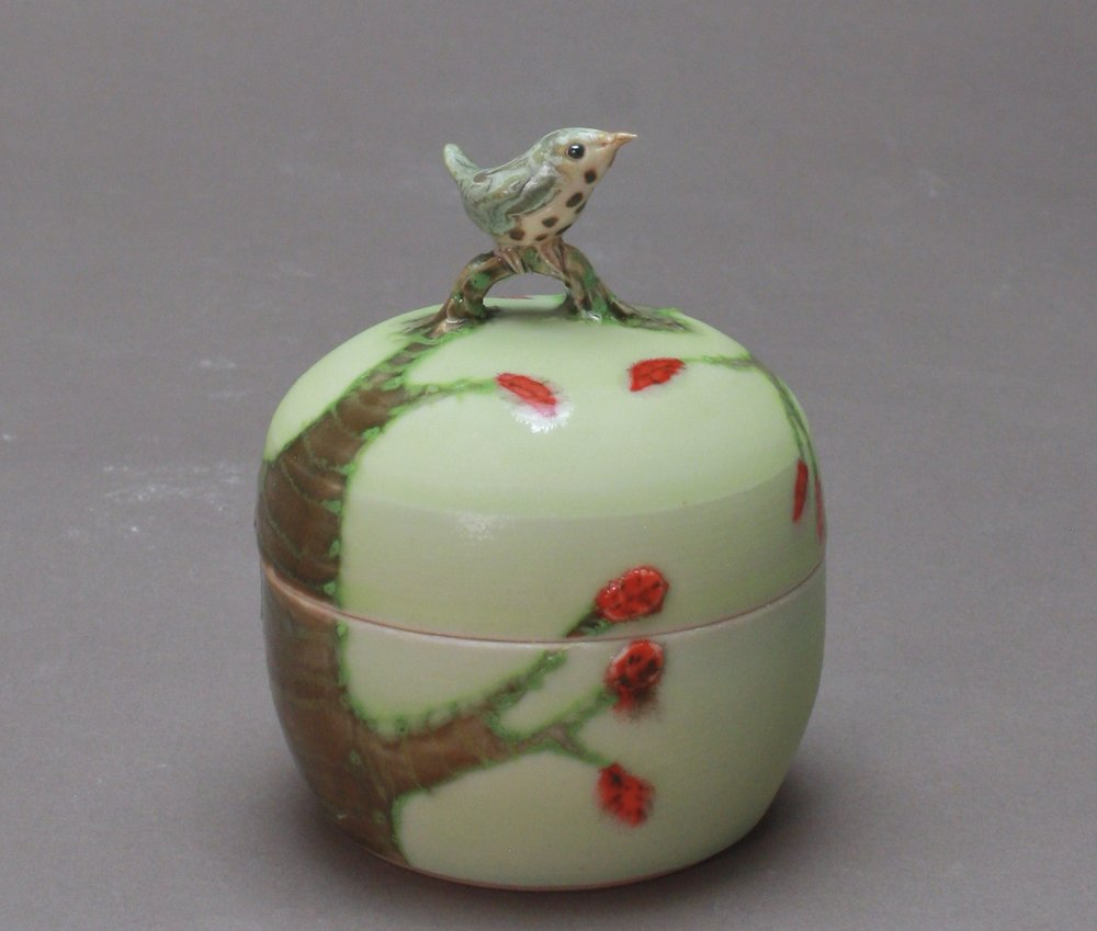 B- 17 |  Autumn Trees Pale Green Box with Thrush ($175)