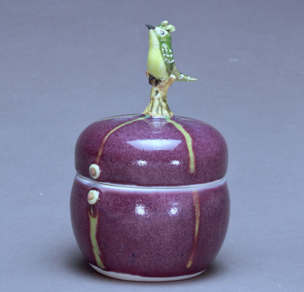 B- 13 |   Green Striped Purple Box with Bulbul ($175)