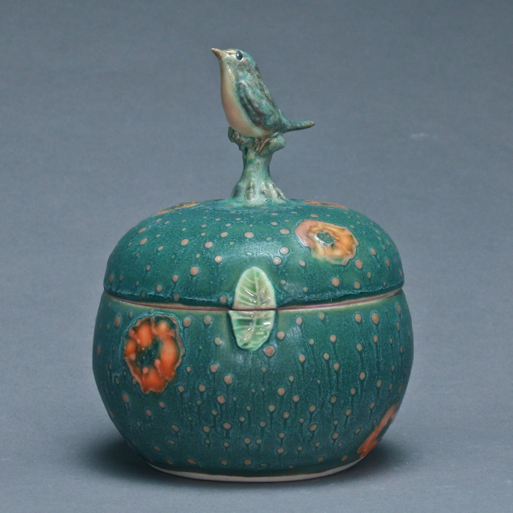 B- 04 |   Orange Flowered Dark Green Box with Robin ($150)