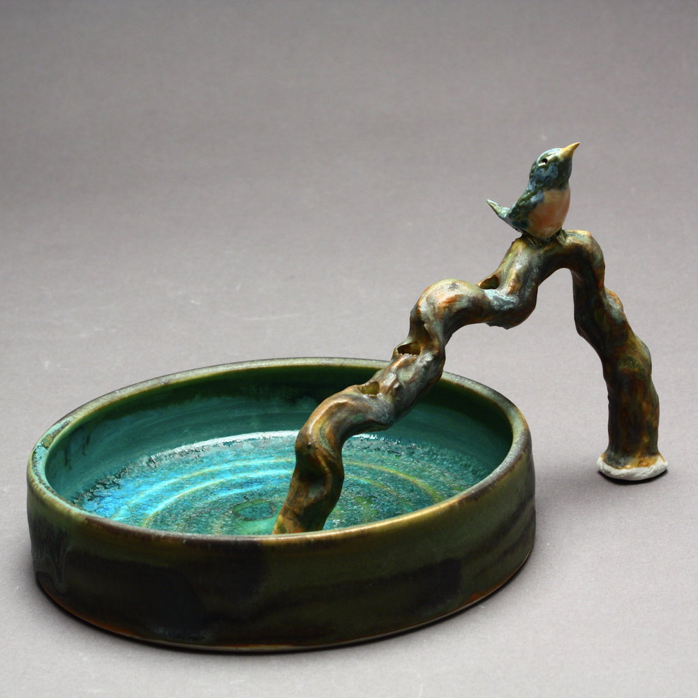 FF-08 | Branch Flower Frog and Basin with Robin ($175)