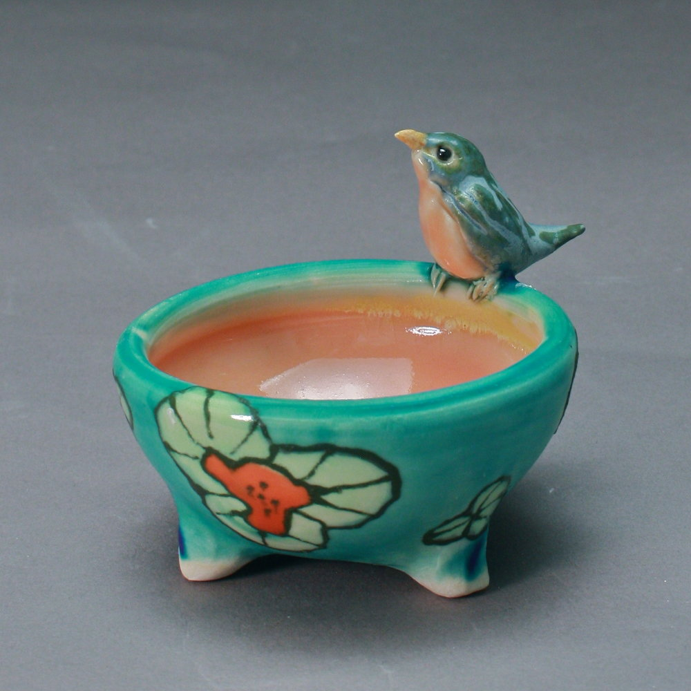 SC-15 | Flowered Turquoise Salt Cellar with Bluebird ($95)