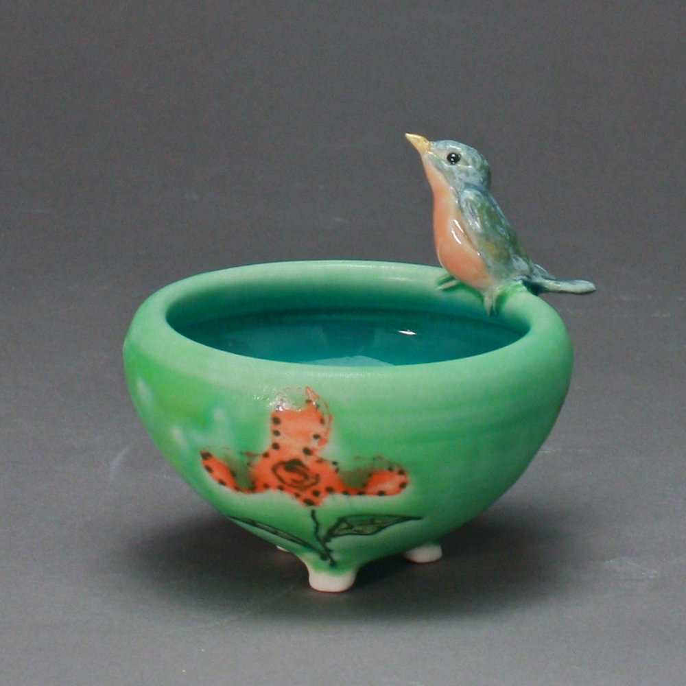 SC-14 | Orange Flowered Green Salt Cellar with Bluebird ($95)