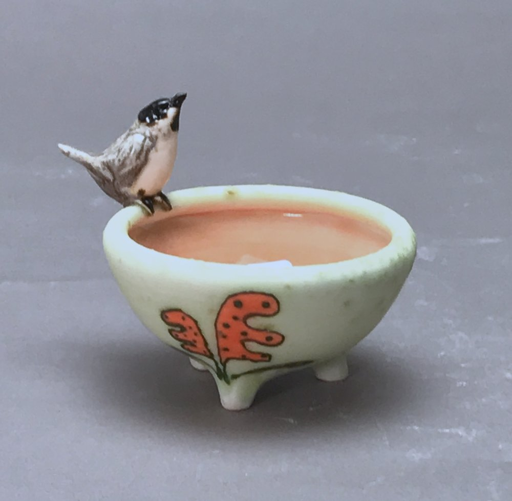 SC-05 |Orange Flowered Pale Green Salt Cellar with Chickadee ($95)