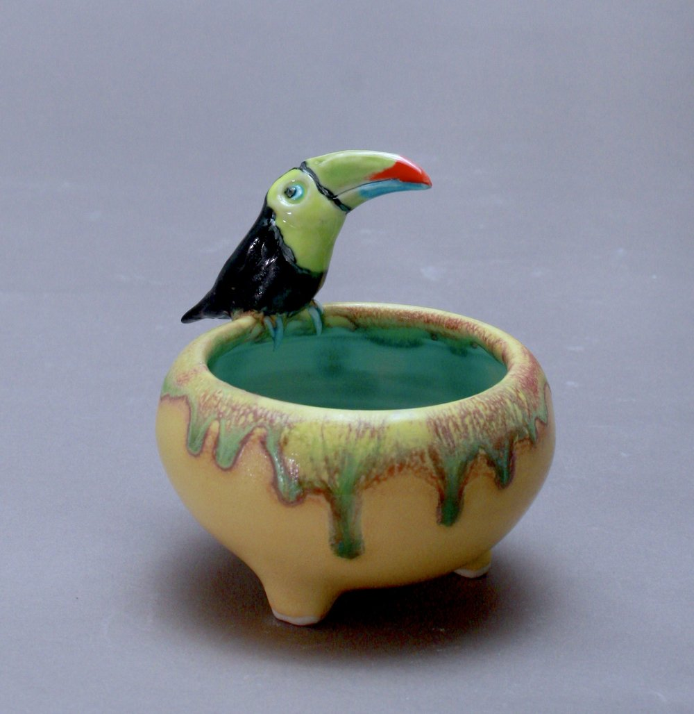 SC-07 | Yellow Salt Cellar with Toucan ($95)