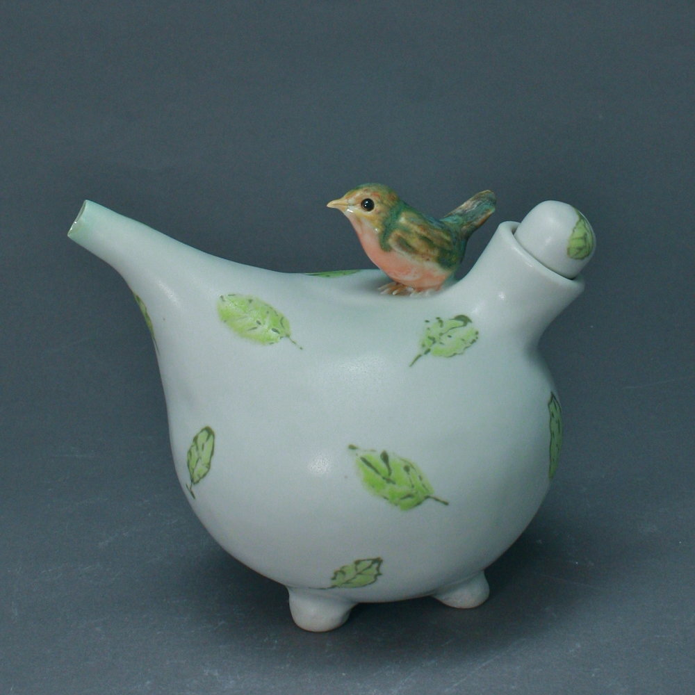 OC-03 | Green Leaves White Oil Cruet with Robin ($160)
