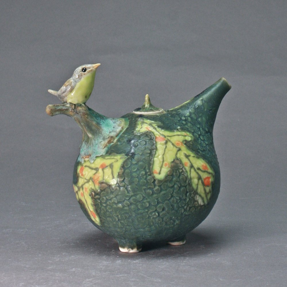 OC-33 | Dark Green Oil Cruet with Flycatcher ($160)