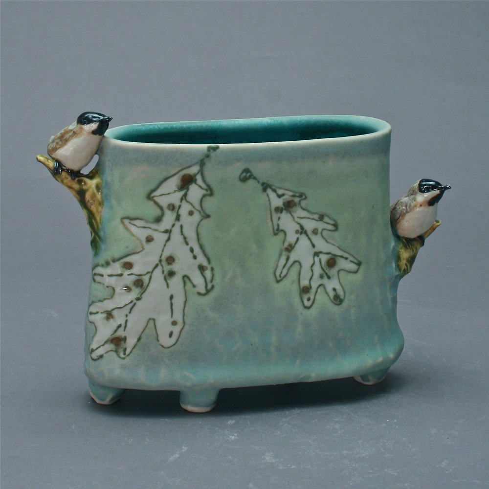 V-30 | Ghost Leaves Celadon Envelope Vase with Chickadees ($250)