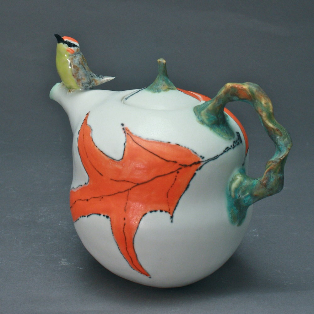 T-02  | Orange Leaf  Teapot with Red Crowned Warbler ($295)